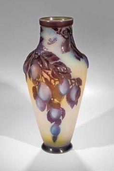 Emile Galle blow-out 'Plum' vase