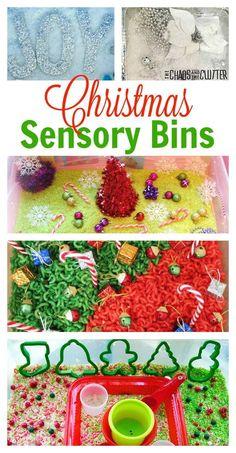 Christmas sensory bin ideas to inspire you to create your own. #sensorybin