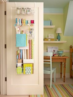 Office/craft room - Gift-Wrap-Spring-Organization - What an excellent idea, especially if you live in a small space!