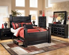 Buy Stylish 4 PC King Poster #BedroomFurniture  Set in Glendale. Now improve your bedroom appearance.  Product Include: King Poster Bed with Storage, Dresser, Mirror and 1 Night Stand Visit: https://goo.gl/kWPXk7