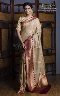 Pure Handloom Tussar Banarasi Saree in Beige and Maroon Phulkari Saree, Kasavu Saree, Banaras Sarees, Pochampally Sarees, Silk Sarees, Saris, Bandhini Saree, Velvet Saree, Beautiful Bridal Dresses