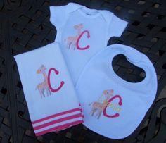 Sophie Personalized pink and orange bib, burp cloth & onesie set