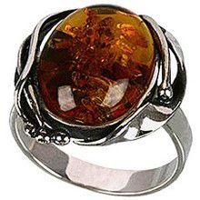 Tyfanit Srebrny pierścionek z owalnym bursztynem R265