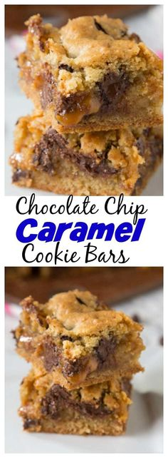Chocolate Chip Caramel Cookie Bars – classic chocolate chip cookies baked in t. Chocolate Chip Caramel Cookie Bars – classic chocolate chip cookies baked in to bars with a gooey layer of caramel in the middle! Brownie Desserts, Oreo Dessert, Mini Desserts, Dessert Bars, Easy Desserts, Delicious Desserts, Yummy Food, Appetizer Dessert, Baking Recipes