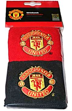 Manchester United Black Red Wristbands with Club Crest