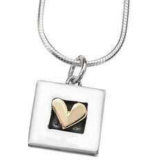A pretty and feminine pendant necklace featuring a gold plated heart set in the centre of a silver square, hung on a plain link chain.