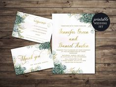 Printable green floral wedding invitation suite - Watercolor Succulent Wedding Set which includes: • wedding invitation (5x7in) • RSVP & Thank you card (4x6in) This listing is a digital file customized with your personalized information. No printed materials will be shipped. You can