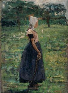 Schilderij van meisje in Zeeuwse klederdracht in een weide met bomen Delta Works, Little Island, Z Arts, Female Art, Netherlands, Dutch, Art Gallery, Art For Kids, History