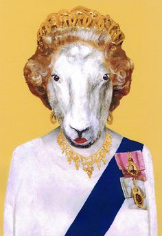 Queen Elizabeth Sheep Royal Art Print Illustration by bobogalerie, $15.00
