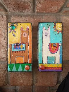 Two Llama Bricks, Garden Bricks, Painted Bricks These llama bricks will look charming in your garden Painted Stepping Stones, Painted Pavers, Painted Rocks, Hand Painted, Paver Stones, Painted Bricks Crafts, Brick Crafts, Brick Garden, Garden Pavers