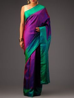 Buy Violet Green Golden Kanchipuram Silk Saree Sarees Woven Online at Jaypore.com