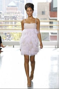 This short, feathery Rivini would be perfect for a Vegas wedding.