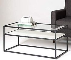The WE Furniture Modern Reversible Shelf Rectangle Coffee Accent Table Living Room, 40 Inch, White Marble, Grey Concrete online shopping - Wouldtopshopping Modern Glass Coffee Table, Glass Table, Concrete Furniture, Modern Furniture, Living Room Furniture, Living Room Decor, Marble Shelf, Metal Chairs, Stores
