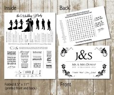 funky wedding program with wedding party silhouettes, timeline, and word search digital, printable file by JoyfulPrintables on Etsy https://www.etsy.com/listing/176524022/funky-wedding-program-with-wedding-party