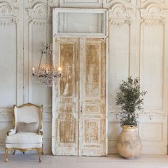 French Country Style Vintage Doors: 1940 Vintage style architectural doors & window transom w/ tall 7 narrow proportions in distressed French Country Rug, French Country Furniture, French Country Kitchens, French Country Bedrooms, French Home Decor, Country Farmhouse Decor, French Country Decorating, Vintage Home Decor, French Cottage