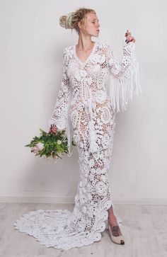 Look at this tremendous crochet maxi dress!,This wedding white cotton dress is made in Irish lace technique! Its of my own design and one-of-a-kind! This adorable crocheted maxi dress is made of cotton yarn. The sleeves are added with the fringe. The crochet wedding maxi dress can