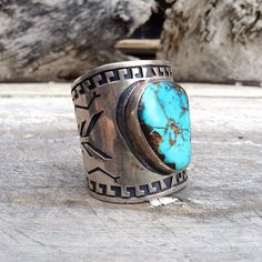 Vintage huge signed Navajo old pawn turquoise silver wide cuff bracelet, Native American Indian ketoh bow guard silver Old Pawn wrist band at romaarellano.etsy.com