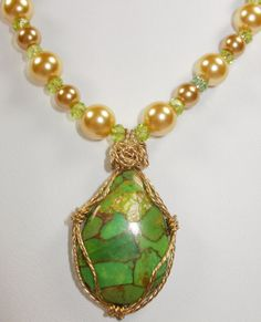 Parrot Green Copper Turquoise Necklace by TheBeadDabbler on Etsy, $22.00