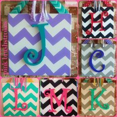 Hand Painted Personalized Chevron Wooden Monogrammed Canvas Wall Art or Door Hanger by Pink Brushstrokes on Etsy