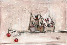 Love her work! PRINT Of my original folk art painting - Christmas Owls - Duda Daze. $10,00, via Etsy.