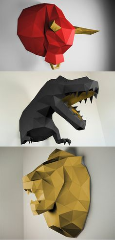 'PaperTrophies' are adorable, faceted, folded paper models of animal busts and figures, they are available as flat paper nets with detailed instructions on folding, some of them are even life size... READ MORE at Yanko Design!