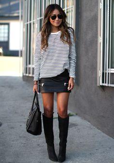 Street style - black & white stripe GAP top - black leather Zara Skirt - Black knee high Isabel Marant boots