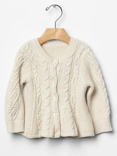 Cable knit peplum cardigan Product Image