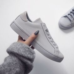 Shoes: sneakers grey grey sneakers minimalist minimalist grey sweater nail polish leather sneakers
