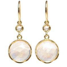 IRENE NEUWIRTH Rainbow moonstone and diamond drop earrings