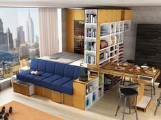 Wow! Ultra compact living. multi-functional studio furniture. bed + sofa + table + storage + walk-in closet!