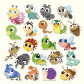 Illustration of Set of cute cartoon insects vector art, clipart and stock vectors. Ladybug Cartoon, Cute Cartoon, Bug Art, Clip Art, Bugs And Insects, Cartoon Images, Animal Drawings, Vector Art, Anime