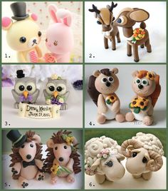 Cute animal wedding cake toppers!