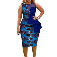 Fashion African Dresses for Women African Print Cotton Midi Dress Sleeveless Bodycon Elegant Party Clothes Brand African Fashion Ankara, Latest African Fashion Dresses, African Print Fashion, Africa Fashion, Dress Fashion, Fashion Skirts, Women's Fashion, Fashion Outfits, Short African Dresses