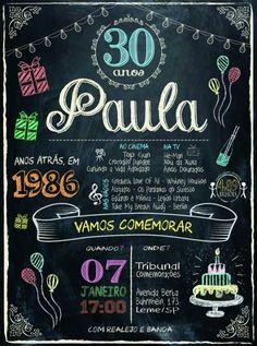 Convite aniversario 30 anos feminino 30th Party, Happy Birthday Parties, 39th Birthday, Man Birthday, 30th Birthday Decorations, Gold Gift Boxes, Photo Letters, Chalk Lettering, Western Parties