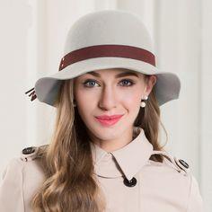 885d2c0ef95 Aliexpress.com   Buy Winter Elegant New Fascinator Grey 100% Wool Fedora  Felt Bowler Hat Fall Hats For Women from Reliable felt hat suppliers on Fashion  Hat ...