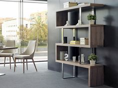 Bibliothèque. Mod. CHICAGO NOYER Color Nogal, Bookcase Wall, Chicago, Home Furnishings, Corner Desk, It Is Finished, Shelves, Cabinet, Table