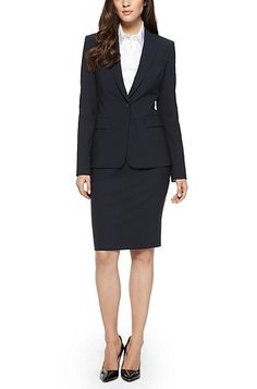 'Juicy' | Regular Fit, Stretch Virgin Wool Blazer by BOSS in dark blue, $575 for the blazer, $250 for the skirt, $425-$495 for the sheath dress, $225 for Tenora pants, there's a $625 matching Janore blazer.