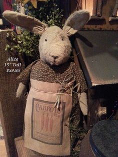 "Primitive Handmade Rabbit ""Alice"""