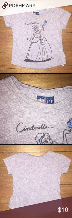 "Baby Gap Junk Food Cinderella Tee GUC 18-24M My little one wore this a handful of times and it is in gently used condition. It shows signs of wash wear but because of the ""Junk Food"" brand it seems normal 😆With the flash on my camera the neck line appears to be discolored but you cannot see it with the naked eye.  There are no stains or holes. Ships from a pet free, smoke free, clean freak's home. Junk Food Clothing Shirts & Tops Tees - Short Sleeve"