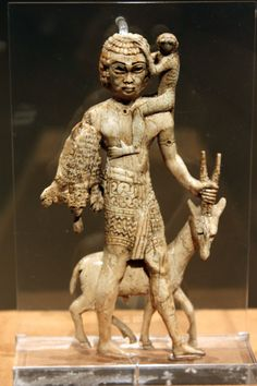 ancientart: Nubian tribute bearer with an oryx, a monkey, and a leopard skin. Mesopotamia, Nimrud (ancient Kalhu), Neo-Assyrian, 8th Century BC.