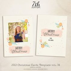 INSTANT DOWNLOAD - 2013 Christmas Card Templates vol.34 7x5 inch card template