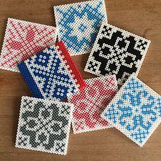Tiles (knitting designs) hama perler beads by garnkjerring- I wonder what I could do with perler bead tiles Perler Bead Designs, Hama Beads Design, Hama Beads Patterns, Beading Patterns, Perler Beads, Hama Beads Coasters, Perler Bead Art, Fuse Beads, Iron Beads