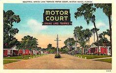 Winter Haven Florida FL 1940s Spring Lake Terrace Motel Vintage Linen Postcard Winter Haven Florida FL 1940s Roadside view Spring Lake Terrace Motor Court on US Highway 17. Unused Henry Aherns collect