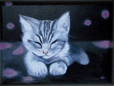 """Cute kitty"" 30x40 cm 3D canvas Oil painting 2015"