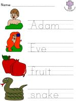 Picture Clue Read and Trace Worksheets (Abraham and Sarah, Abram and Lot, Adam & Eve, Creation, David and Goliath, Elijah Prays, Esther the Queen, Gideon, Moses, Noah)