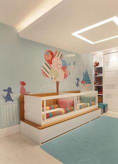Habitación de bebés mellizos niño y niña / Quarto de bebês gêmeos menino e menina. #twin #nursery #mellizos