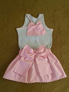 Vichy rosa Frock Patterns, Dress Anak, Frock Design, American Girl Clothes, Clothes Crafts, Cute Baby Clothes, Kids Wear, Baby Dress, Casual Chic