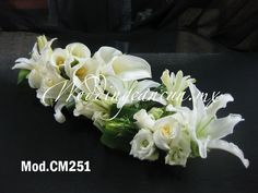 mexican calla lily with #white lisianthus, roses and oriental lily #wedding #centerpiece