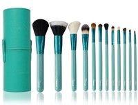 SixPlus 12pcs Makeup Brush Set in Round Leather Case Green/Purple