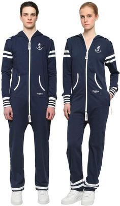 ONEPIECE, Cotton french terry naval jumpsuit, Blue, Luisaviaroma - Non detachable hood. Stripes on sleeves and at cuff. Navy themed print on front and back Luxury Shop, French Terry, Adidas Jacket, Jumpsuit, One Piece, Sleeves, Cotton, Jackets, Men